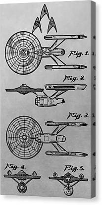 Uss Enterprise Patent Illustration Canvas Print by Dan Sproul