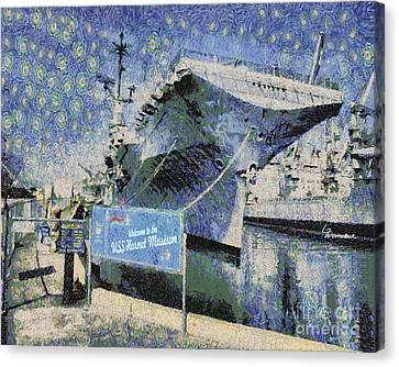 Canvas Print featuring the painting Alameda Uss Hornet Aircraft Carrier by Linda Weinstock