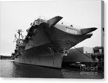 Manhatten Canvas Print - Uss Intrepid Aircraft Carrier At The Intrepid Sea Air Space Museum New York City by Joe Fox