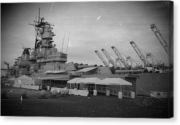 Uss Iowa Black And White Canvas Print by Dan Twyman