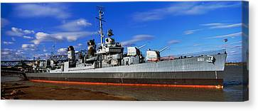 Uss Kidd Navy Ship At A Memorial, Uss Canvas Print by Panoramic Images