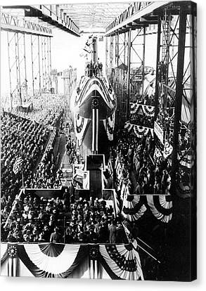 Uss Nautilus Submarine Christening Canvas Print by Us Navy