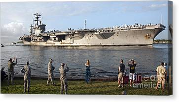 Uss Nimitz Arrives At Joint Base Pearl Canvas Print