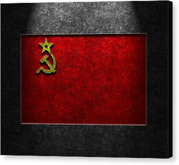 Canvas Print featuring the digital art Ussr Flag Stone Texture by The Learning Curve Photography