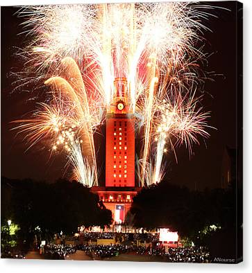 Ut Tower 2013 Fireworks Canvas Print by Andrew Nourse