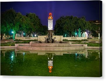Ut Tower Regular Season Win Reflection Canvas Print by Preston Broadfoot