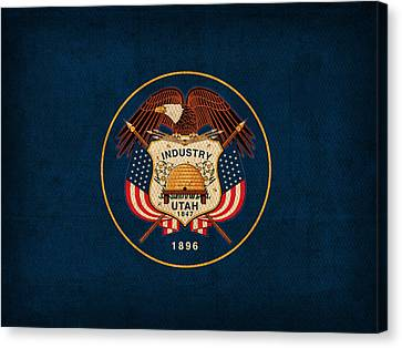Utah State Flag Art On Worn Canvas Canvas Print by Design Turnpike