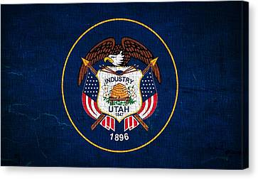 Utah State Flag On Canvas Canvas Print by Dan Sproul