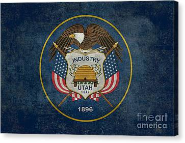 Utah State Flag Vintage Version Canvas Print by Bruce Stanfield