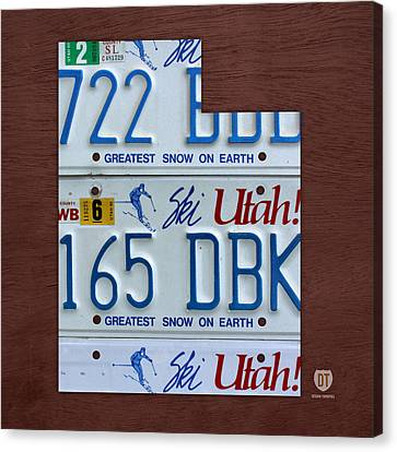 Tag Art Canvas Print - Utah State License Plate Map by Design Turnpike