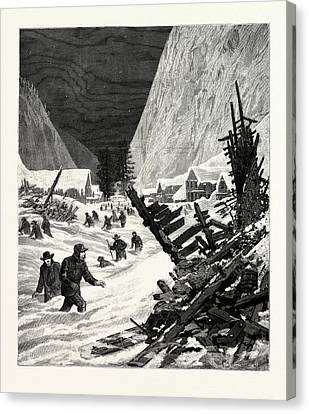 Slide Canvas Print - Utah The Recent Snow Slide In The Wahsatch Mountains by American School