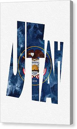 Utah Typographic Map Flag Canvas Print by Ayse Deniz