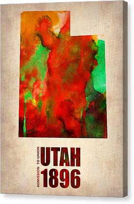 Utah Watercolor Map Canvas Print by Naxart Studio