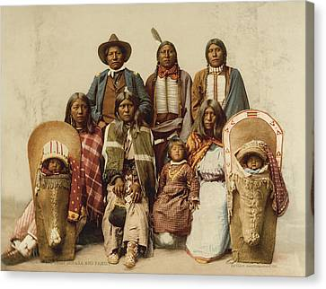 Ute Chief And His Family Canvas Print by Underwood Archives