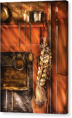 Utensils - Garlic And Spoons Canvas Print by Mike Savad