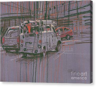 Canvas Print featuring the painting Utility Truck by Donald Maier