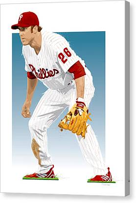 Utley In The Ready Canvas Print by Scott Weigner