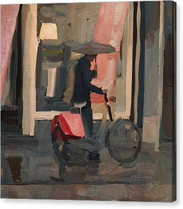 Canvas Print featuring the painting Utrecht - Cycler In The Rain by Nop Briex