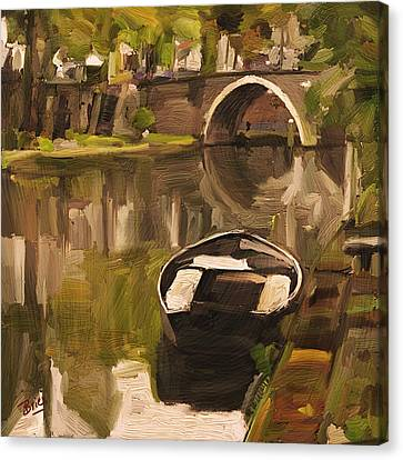 Canvas Print featuring the painting Utrecht - Oude Gracht By Briex by Nop Briex