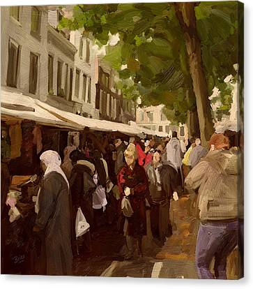 Canvas Print featuring the painting Utrecht - The Saturday's Fabrics Market by Nop Briex