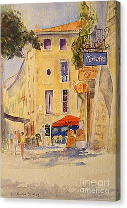 Canvas Print featuring the painting Uzes France by Beatrice Cloake