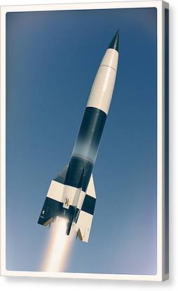 V-2 Rocket Launch, Artwork Canvas Print by Science Photo Library