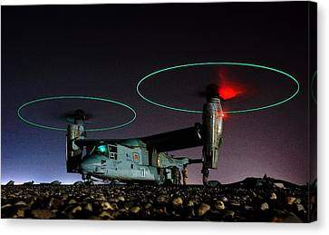 V 22 Osprey Refueling Before Night Mission Central Iraq II Canvas Print by US Navy - L Brown