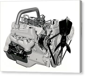 V-8 Gmc Diesel Engine Canvas Print by Underwood Archives