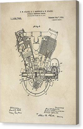 Combustion Canvas Print - V-twin Combustion Engine Patent  1914 by Daniel Hagerman