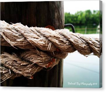 V2- Weathered Rope On The Dock  Canvas Print by Deborah Fay