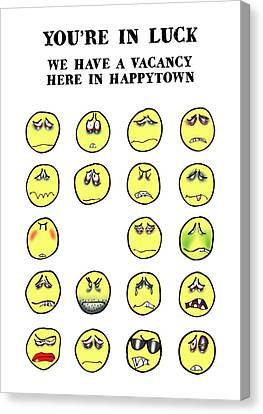 Vacancy In Happytown Canvas Print by Mark Armstrong