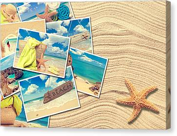 Vacation Postcards Canvas Print by Amanda Elwell