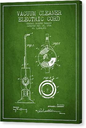 Vacuum Canvas Print - Vacuum Cleaner Electric Cord Patent From 1924 - Green by Aged Pixel