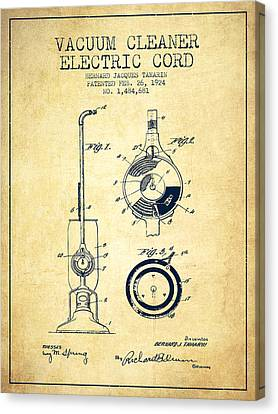 Vacuum Canvas Print - Vacuum Cleaner Electric Cord Patent From 1924 - Vintage by Aged Pixel