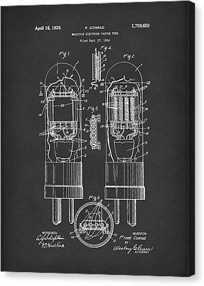 Vacuum Tube 1929 Patent Art Black Canvas Print by Prior Art Design