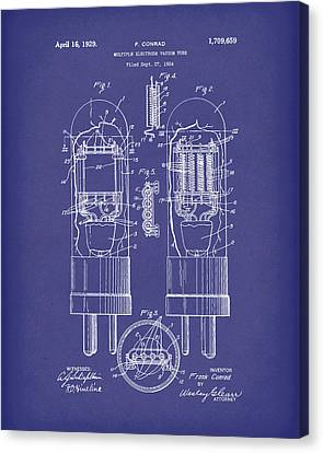 Vacuum Tube 1929 Patent Art Blue Canvas Print by Prior Art Design