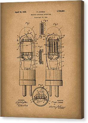 Vacuum Tube 1929 Patent Art Brown Canvas Print by Prior Art Design