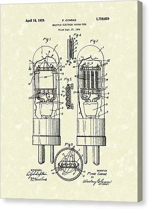 Vacuum Tube 1929 Patent Art Canvas Print by Prior Art Design