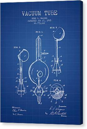 Vacuum Tube Patent From 1905 - Blueprint Canvas Print by Aged Pixel
