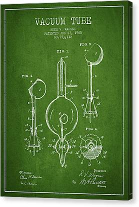 Vacuum Tube Patent From 1905 - Green Canvas Print by Aged Pixel