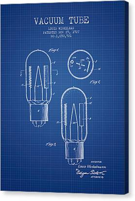 Vacuum Tube Patent From 1927 - Blueprint Canvas Print by Aged Pixel