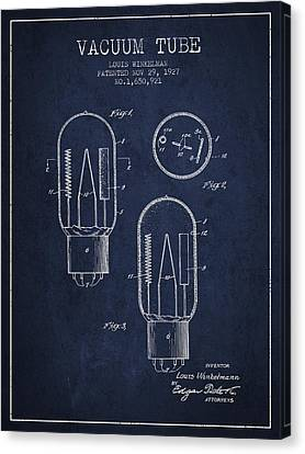 Vacuum Tube Patent From 1927 - Navy Blue Canvas Print by Aged Pixel