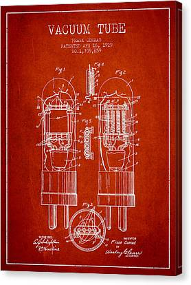 Vacuum Tube Patent From 1929 - Red Canvas Print by Aged Pixel