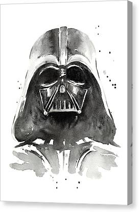 Black And White Canvas Print - Darth Vader Watercolor by Olga Shvartsur