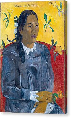 Vahine No Te Tiare Woman With A Flower, 1891 Oil On Canvas Canvas Print by Paul Gauguin