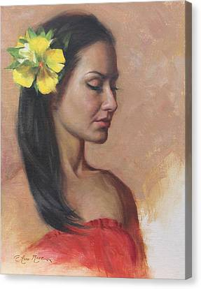 Red Dress Canvas Print - Vai by Anna Rose Bain