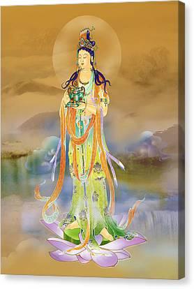Canvas Print featuring the photograph Vaidurya  Kuan Yin by Lanjee Chee
