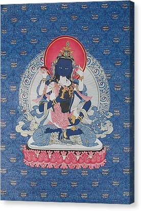 Vajrasattva And Consort Canvas Print by Ariyas Thangkas