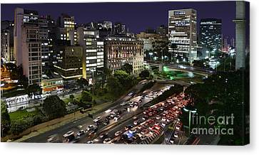 Vale Do Anhangabau By Night - Paulistano Downtown Icons Canvas Print by Carlos Alkmin