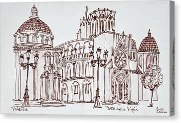 Valencia Cathedral In Plaza De La Canvas Print